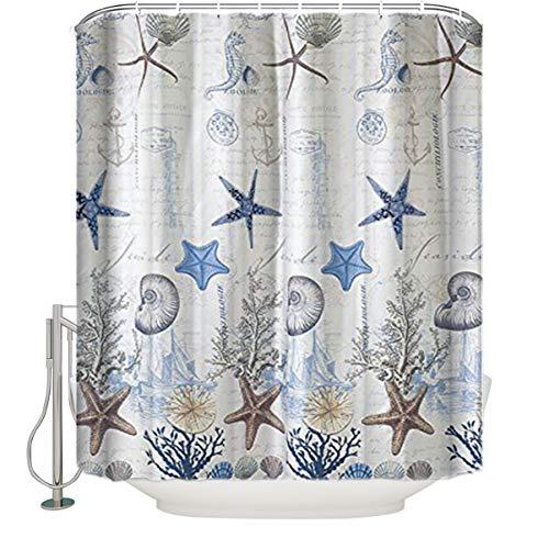 OneHoney Coastal Shower Curtain for Bathroom Underwater World Marine Life Print Bath Curtain, Polyester Fabric Water-Repellent