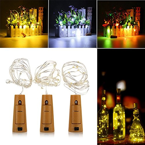 Lights & Lighting - Battery Powered 1m 20leds Cork Shaped Silver Led Starry Light Wine Bottle Lamp For Party - Cork Shaped Wine Bottle Lights Led String Light Decorative Bottles - 1PCs