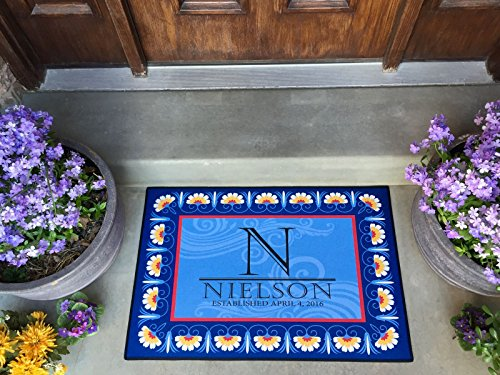 Name Door Mat - Qualtry Personalized by Last Name Outdoor Doormat Entrance Rugs - Non Slip Front Door Welcome Mats (Large Size, Nielson Design)