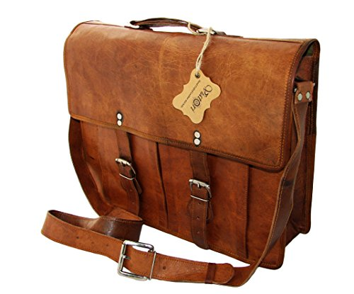 Hand Made Natural Leather Computer Bag (16x13x5)- Metro Fogg Design by Viatori
