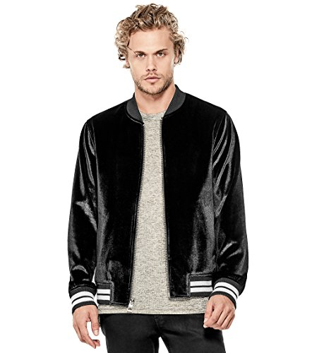 Guess Mens Jacket - GUESS Men's Long Sleeve Metallic Velvet Jacket, Jet Black, Large
