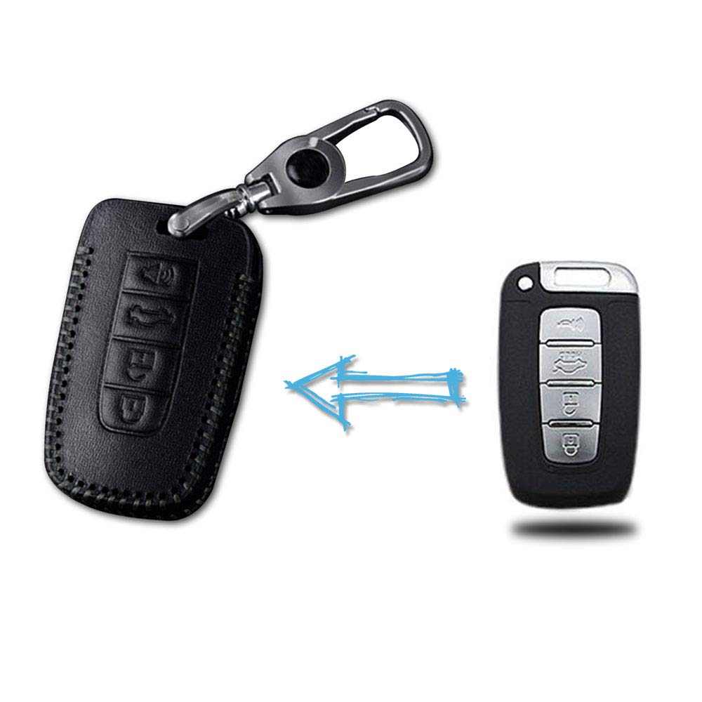 for KIA 4 Buttons Car Smart Key Protector Keyless Entry Protect Case Holder Leather Remote Fob Covers Hand Sewing Jacket Red Type D