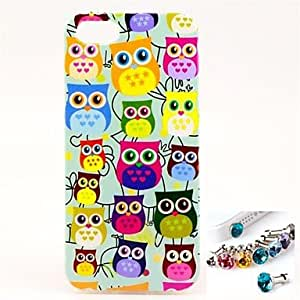 SHOUJIKE Owl Pattern TPU Back Cover Case and Dust Plug for iPhone 5/5S