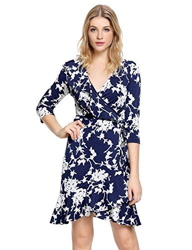 GRAPENT Women's Floral Print 3/4 Sleeve Asymmetric Ruffle A Line Faux Wrap Dress US 14