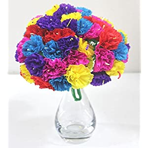 Del Mex Bouquet Mexican Paper Flowers 12 Stems of 5 Flowers (60 Flowers Total) 9