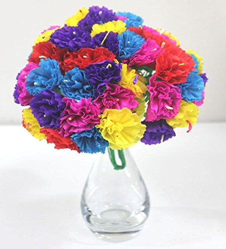 Del Mex Bouquet Mexican Paper Flowers 12 Stems of 5 Flowers (60 Flowers Total) -