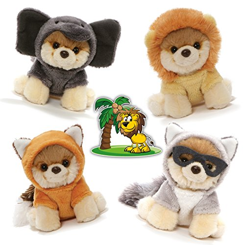 GUND Itty Bitty Boos #049 Lion, #050 Red Fox, #051 Raccoon, and #052 Elephant Halloween Special Set of 4 Plush 5