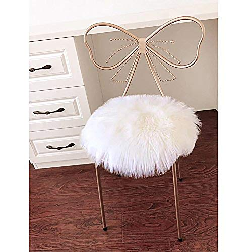 LOCHAS Super Soft Round Seat Cushion Faux Fur Sheepskin Chair Cover Pad Plush Rugs for Living & Bedroom Sofa, 14''x14'' White (Furry Vanity Stool)