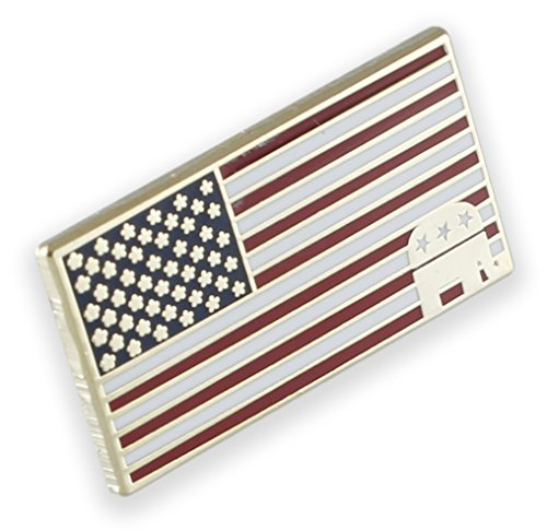 American Flag Republican Elephant Lapel Pin (1 Pin)