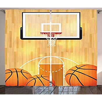 Ambesonne Sports Decor Collection, Basketball Court Ball And Hoop Madness  Rim Court Parquet Hardwood Picture