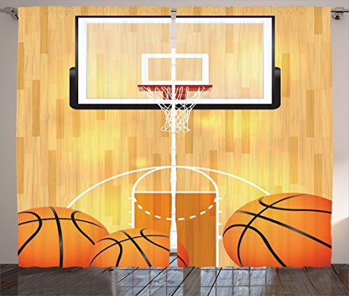 Hardwood Basketball (Ambesonne Sports Decor Collection, Basketball Court Ball and Hoop Madness Rim Court Parquet Hardwood Picture Print, Living Room Bedroom Curtain 2 Panels Set, 108 X 84 Inches, Ivory Orange Black)