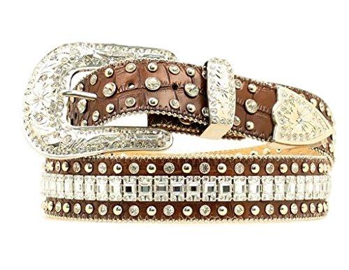 Nocona Women's Crystal Croc Print Leather Belt Brown Medium