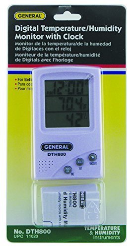 General Tools DTH800 Digital Temperature and Humidity Monitor, with Clock - Outdoor Thermometers - Amazon.com