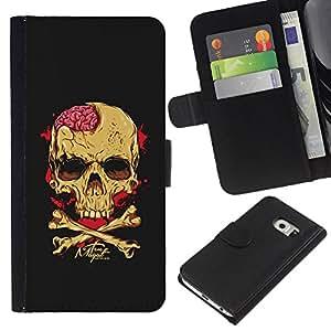 ZCell / Samsung Galaxy S6 EDGE / Skull Brains Yellow Black Crossbones / Caso Shell Armor Funda Case Cover Wallet / Cráneo Brains amarillo