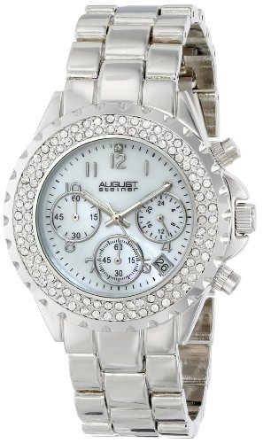 August Steiner Women's AS8031SS Crystal Mother-Of-Pearl Chronograph Bracelet Watch