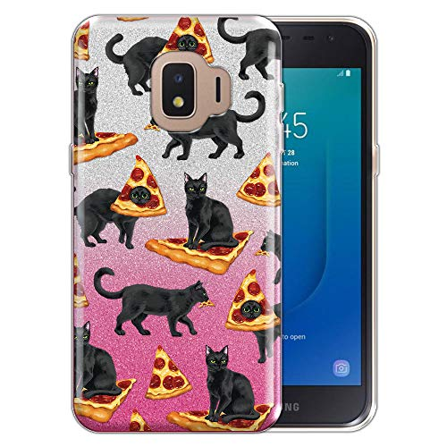 FINCIBO Case Compatible with Samsung Galaxy J2 Core J260 5 inch 2018, Shiny Sparkling Silver Pink Gradient 2 Tone Glitter TPU Protector Cover Case for Galaxy J2 Core - Black Cat Love Pizza