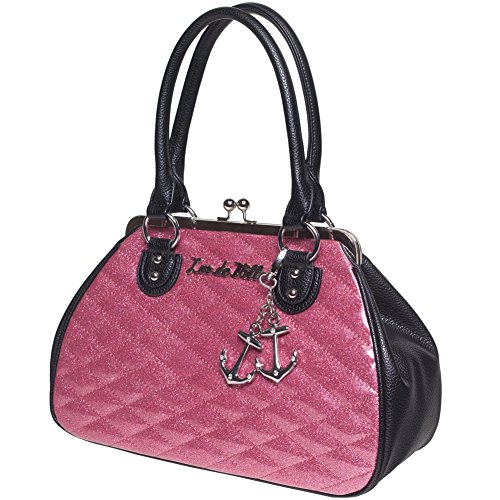 (Lux De Ville Hold Fast Kiss Lock Black Matte and Pink Bubbly Sparkle Handbag)