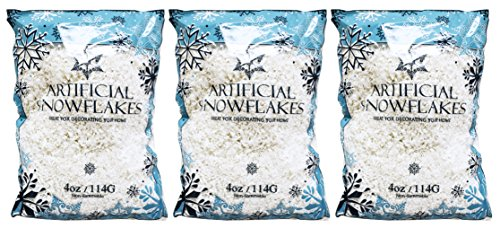 Set of 12 Ounces of Artificial Snow Flakes 4 Oz Bags Blue Printed Polybag