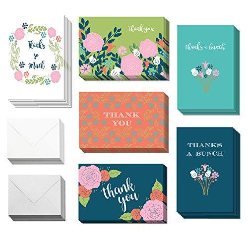 36 Blank Flower Thank You Cards - Bulk 4x6 Cute Preppy Cards with Envelopes for Women