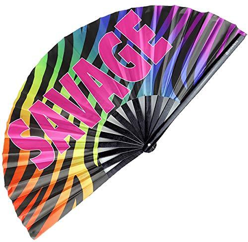 Pride Fans Savage Large Bamboo, Durable Fabric, Gay, Rave Fan, Festival Fan, Hand Fan, Drag Queen Fan, Rainbow Folding Fan, Pride Hand Fan