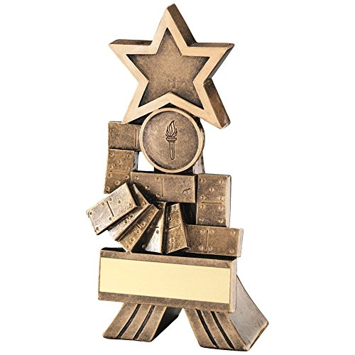 (Lapal Dimension BRZ/GOLD DOMINOES SHOOTING STAR TROPHY - (1in CENTRE) 5in)
