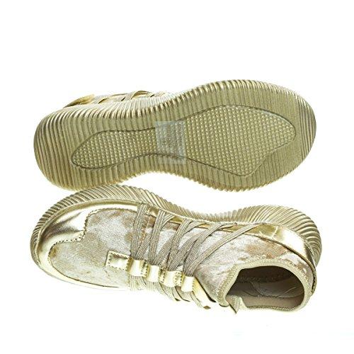 Remy18 Sneaker Di Moda In Glitter Glitterato 4 Volte Con Linguetta Elastica E Suola Bianca -5