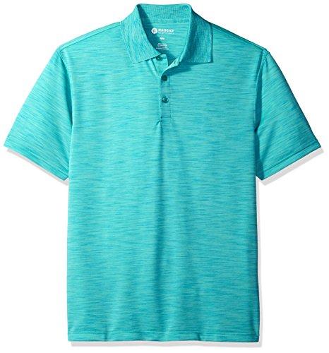Haggar Men's Short Sleeve Space Dye Knit Polo, Blue/Turquoise, S (Short Sleeve Knit Polo Shirt)