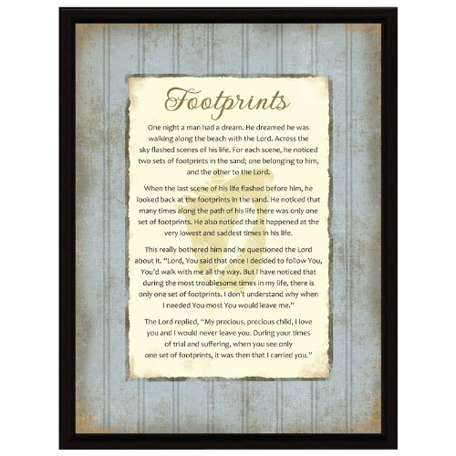 Footprints Wood Frame Plaque with Easel by Dexsa