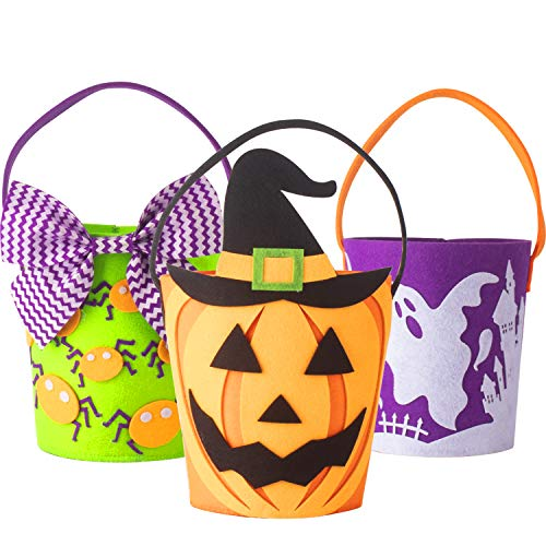 KI Store Trick or Treat Bags Halloween Candy Buckets Baskets Totes Gift Bags for Kids Girls Boys Spooky Ghost Spider Pumpkin Set of 3 -