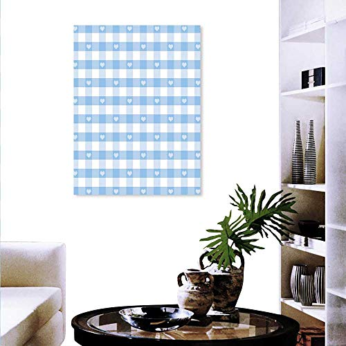 Anyangeight Checkered Landscape Wall Stickers Gingham Motif Cute Little Hearts Pastel Blue Baby Shower Kids Theme Wall Stickers 24