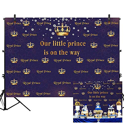 Allenjoy 7x5ft Royal Prince Baby Shower Backdrop Gold Crown Photography Background Royal Blue Purple Our Little Prince is on The Way Happy Birthday Celebration Party Supplies Decoration for -