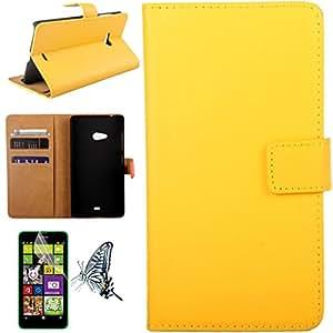 Mobilefashion Funda de PU Cuero Case para Microsoft Lumia 540 (Amarillo CS) Con Soporte Plegable y Ranura para tarjeta + 1x protector de pantalla gratis