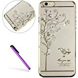 iPhone SE Case 5 Case iPhone 5S Case for Girls EMAXELER Stylish Bling Diamond Slim Case Electroplating Process Hard PC Back Cover Protective Case for iPhone 5/5S A Tree & A Bird[Gold]