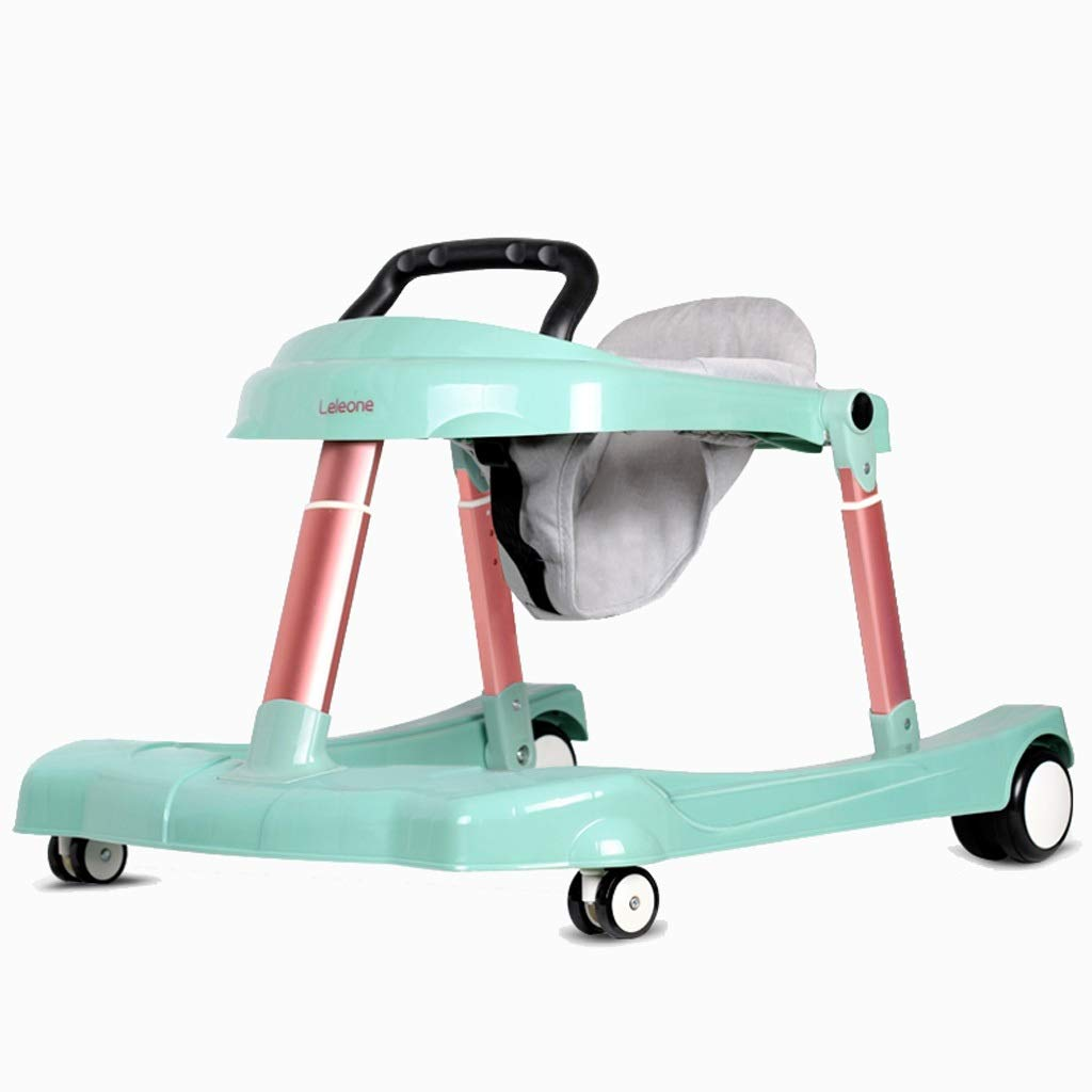Baby Walker, U-Shaped Multi-Function Anti-Rollover Can Sit and Push Boy Girl Baby Folding Height-Adjustable for 6-24 Months Maximum Load 30 Kg (Color : Green) by Moolo