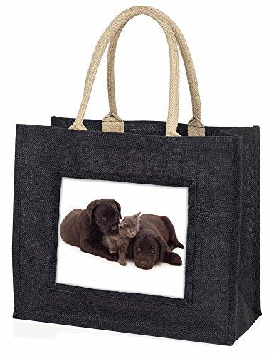 Advanta Labrador Hunde und Kätzchen Große Einkaufstasche/Weihnachtsgeschenk, Jute, schwarz, 42x 34,5x 2cm