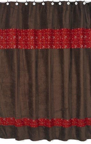 Sweet Jojo Designs Wild West Cowboy Western Bandana Kids Bathroom Fabric Bath Shower Curtain