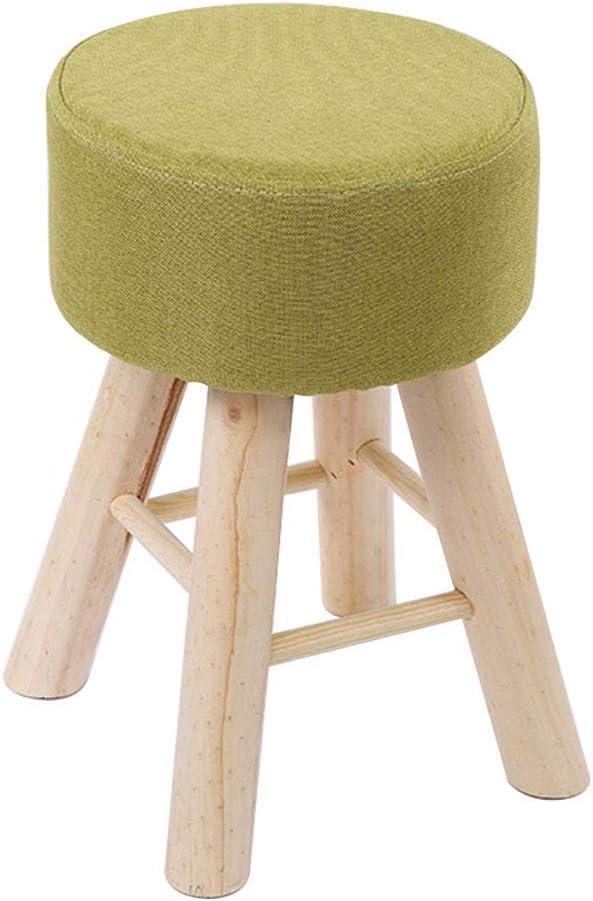 Colore: Verde 28 cm YLCJ Poggiapiedi Imbottiti Pouf Rotondi ottomani Tinta Unita Moderno Semplice Sedia Sgabello 4 Gambe in Legno Fodera Rimovibile in Lino 39