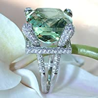 Promsup Fashion Jewelry Womens 925 Sterling Silver Green Topaz Engagement Wedding Ring (8)