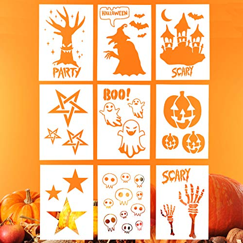 Halloween Stencils Ghost (LOCOLO 9 Pieces Halloween Stencils Set, 10 x 7 Inches Halloween Symbol Plastic Drawing Templates - Ghost,Pumpkin Lantern,Witch,Haunted)