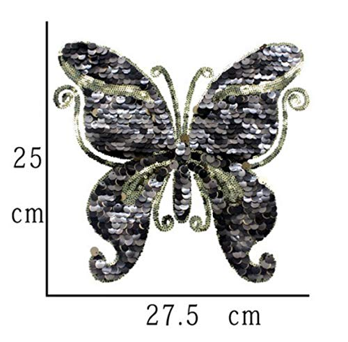 1Pc Beautiful Butterfly Embroidery Lace Applique Paillette Fabric Sweater Clothes Patch Sequined Stickers T-Shirt DIY Decoration