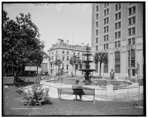 Photo: Plaza fountain,Ferdinand VII,Pensacola,Florida,FL,Detroit Publishing - Florida Pensacola In Shopping