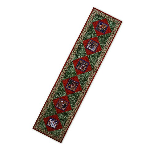 Handmade Table Runner Christmas Holiday Teddy Bears Quilted Red Green Gold Free USA Shipping