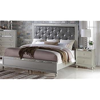 Soflex Kiana Silver Grey Diamond Tufted Headboard Panel Bedroom Set 6 Pcs Contemporary (King)