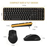 Wireless Keyboard Mouse, Jelly Comb Compact 2.4Ghz Wireless Keyboard and Mouse Combo Multiple Shortcuts with Ergonomic Stand for PC Desktop Laptop Windows XP/7/8/10-Updated (Black and Yellow)