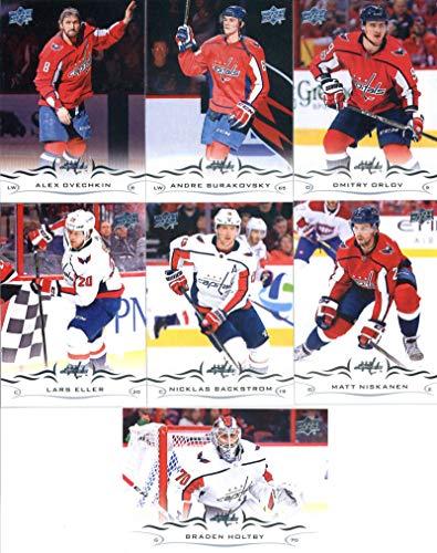 2018-19 Upper Deck Hockey Washington Capitals Veteran Team Set of 7 Cards: Nicklas Backstrom(#185), Matt Niskanen(#186), Braden Holtby(#187), Lars Eller(#188), Dmitry Orlov(#189), Andre Burakovsky(#190), Alexander Ovechkin(#191)