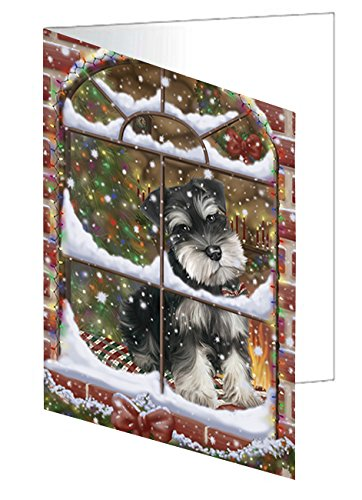 Please Come Home For Christmas Schnauzers Dog Sitting In Window Note Card (10)