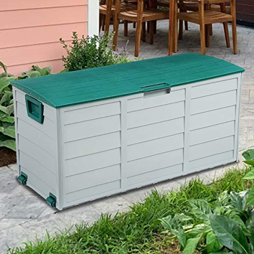 "KingSo 79 Gallon Storage Container Box 44"" Deck Storage for Outdoor Patio Garden Backyard, PP Material"