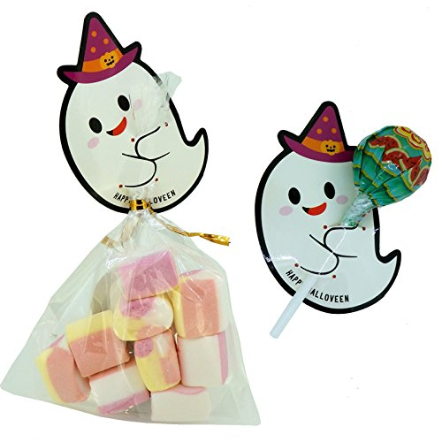 Halloween Ghost Tags with Cello Treat Bags for lollipop Cookie Candy Baking Packaging, Pack of 48