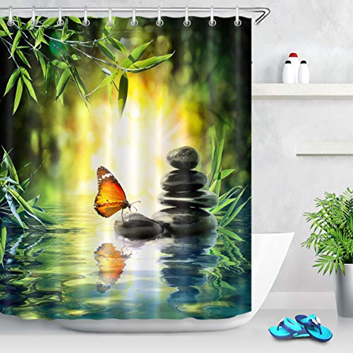 LB Zen Spa Shower Curtain Butterfly and Black Stones in Bamboo Forest Spring Scene Japanese Shower Curtains for Bathroom,Waterproof Fabric 72x72 Inch with 12 Hooks