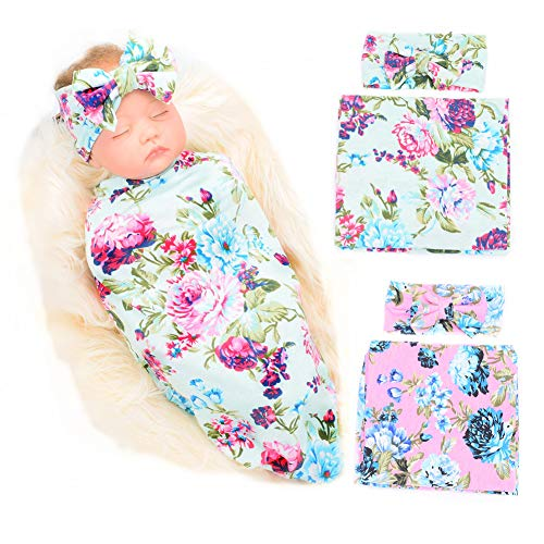 Galabloomer Newborn Receiving Blanket Headband Set Flower Print Baby Swaddle Receiving Blankets (Blue Pink Rose Pack Two)